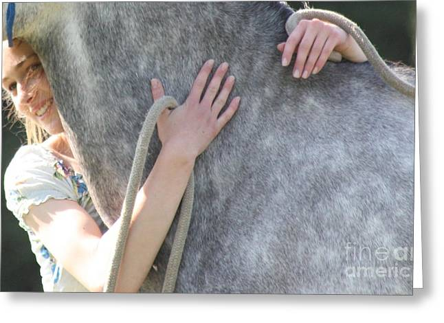 Horse Owner Greeting Cards - Love and Horse Happinness Greeting Card by E Jane Lazenby