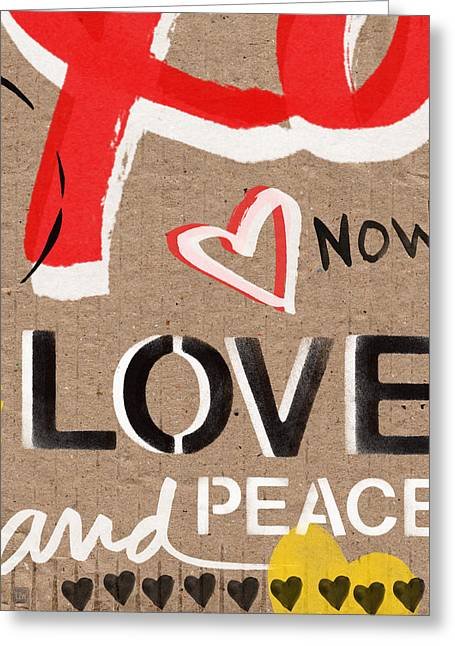Yellow Brown Greeting Cards - Love and Peace Now Greeting Card by Linda Woods