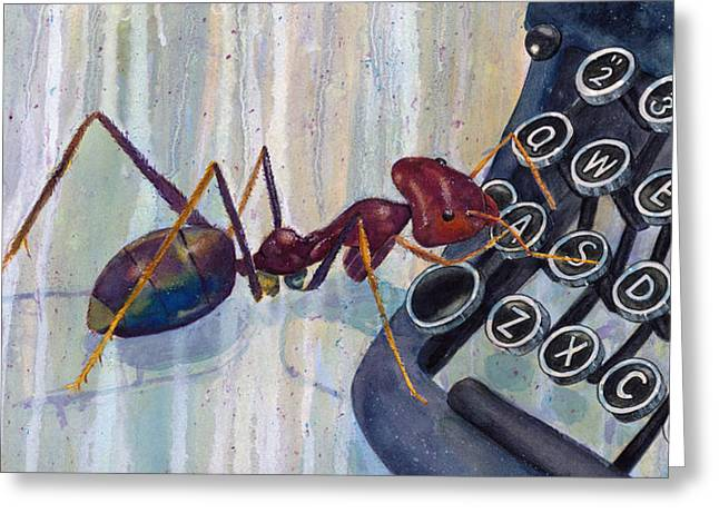 Typewriter Keys Greeting Cards - Love Ant Mary Greeting Card by Marie Stone Van Vuuren