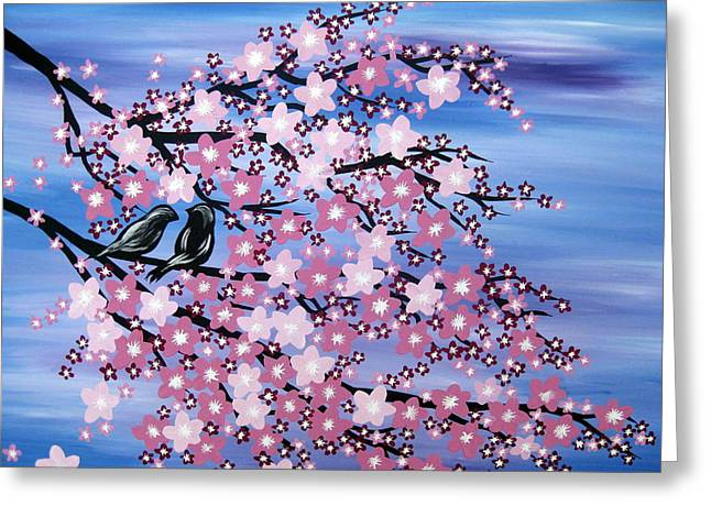 Cherry Blossoms Paintings Greeting Cards - Love at Dusk Greeting Card by Cathy Jacobs