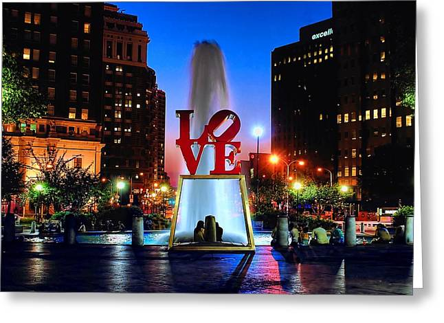Fountain Greeting Cards - LOVE at Night Greeting Card by Nick Zelinsky
