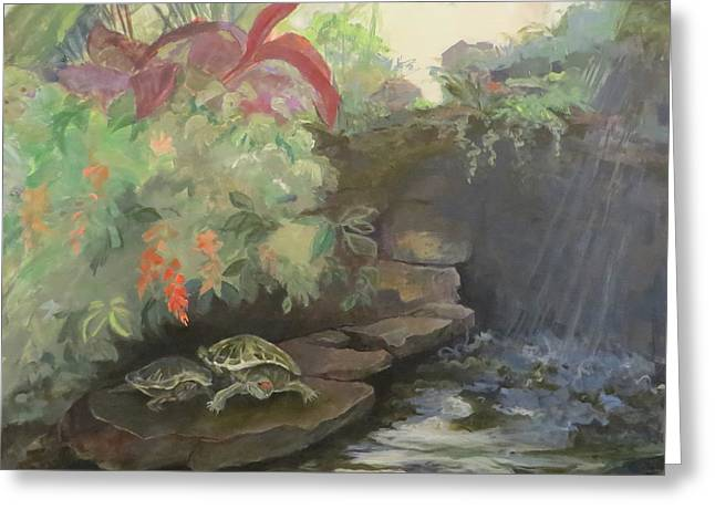 Pond In Park Greeting Cards - Love at the Conservatory Greeting Card by Terri Messinger
