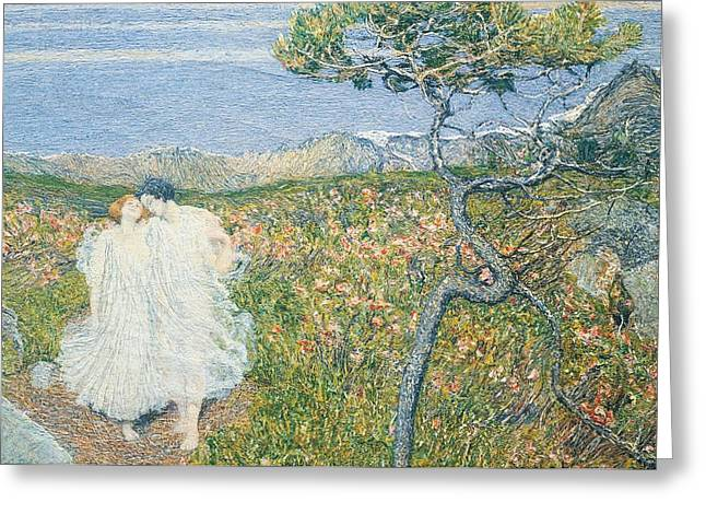 Contemporary Symbolism Greeting Cards - Love at the Fountain of Life or Lovers at the Sources of Life Greeting Card by Giovanni Segantini