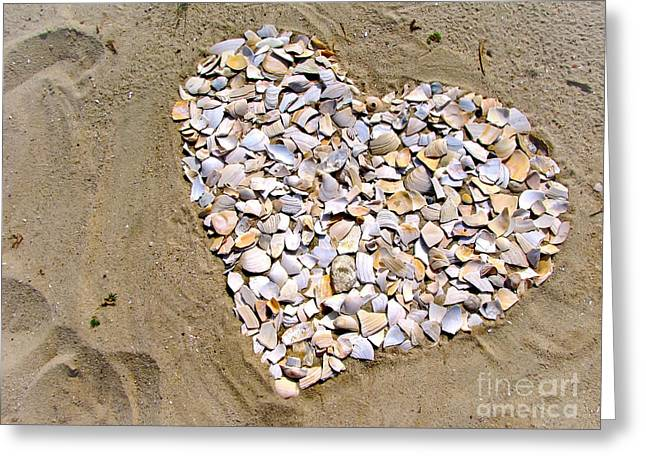 Sea Shell Art Greeting Cards - Love at the Jersey Shore Greeting Card by Colleen Kammerer