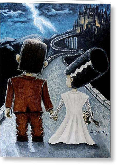 Classic Monster Greeting Cards - Love begins with a Spark Greeting Card by Al  Molina