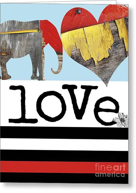 Juvenile Wall Decor Greeting Cards - LOVE BIG - Elephant Heart Typography Print Greeting Card by Anahi DeCanio - ArtyZen Studios