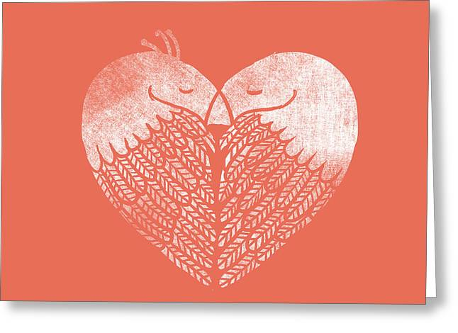 Pink Heart Greeting Cards - Love Birds Greeting Card by Budi Satria Kwan
