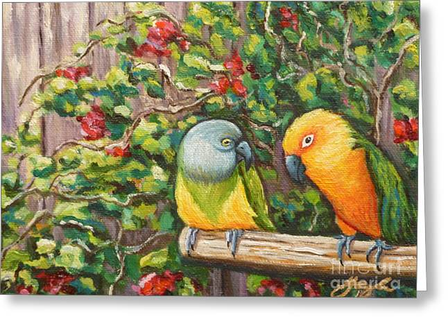 Gayle Utter Greeting Cards - Love Birds Greeting Card by Gayle Utter
