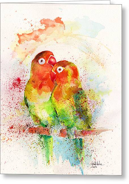 Animals Love Drawings Greeting Cards - Love birds Greeting Card by Isabel Salvador