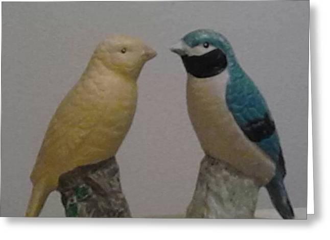 Animals Love Glass Art Greeting Cards - Love birds Greeting Card by Kelz Lewis