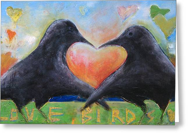 Love Bird Greeting Cards - Love Birds Greeting Card by Mary Medrano
