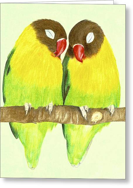 Fresh Green Pastels Greeting Cards - Love Birds Greeting Card by Monica Margarida
