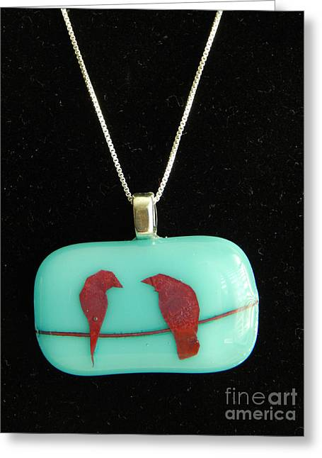 Bird Jewelry Greeting Cards - Love Birds Greeting Card by Patricia  Tierney