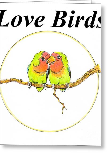 Peach Faced Lovebird Bird Greeting Cards - Love Birds Greeting Card by Richard Brooks
