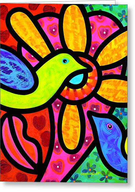 Birds Greeting Cards - Love Birds Greeting Card by Steven Scott