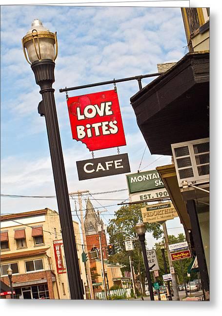 Saugerties Greeting Cards - Love Bites Greeting Card by Nancy  de Flon