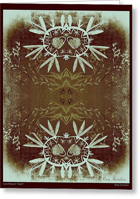We Are All One Digital Greeting Cards - Love Blossom Earth Brown Border Greeting Card by Roxy Hurtubise