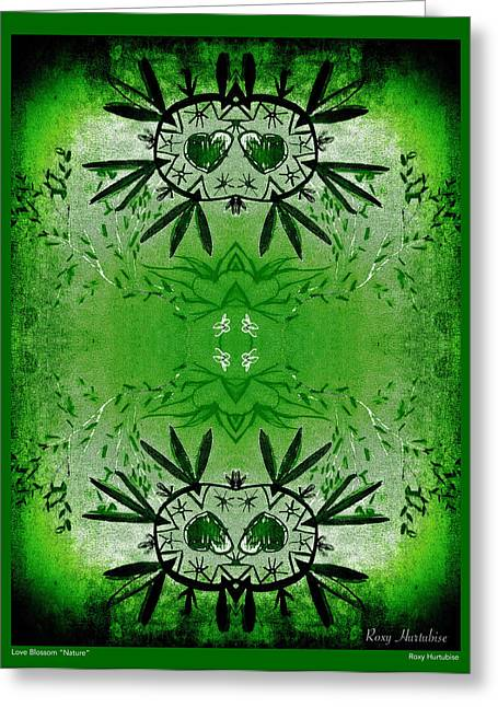 We Are All One Digital Greeting Cards - Love Blossom Nature Green Border Greeting Card by Roxy Hurtubise