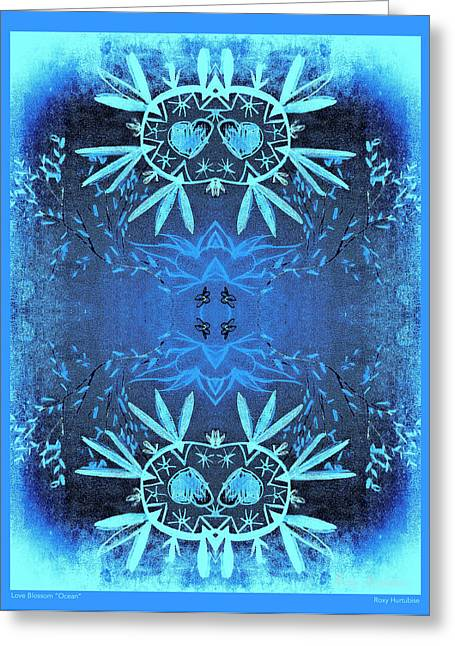 We Are All One Digital Greeting Cards - Love Blossom Ocean Blue Border Greeting Card by Roxy Hurtubise