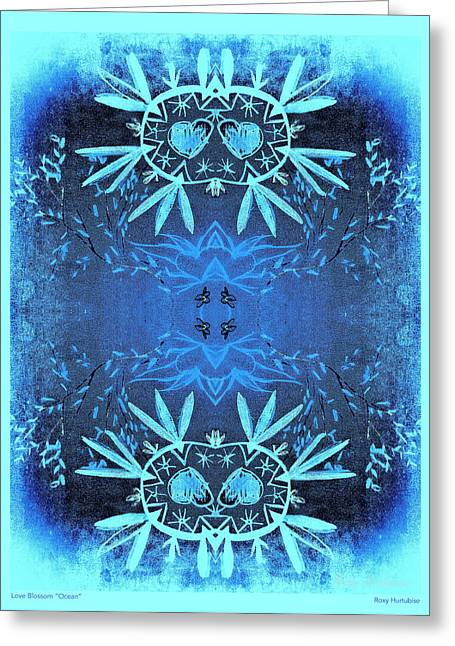 We Are All One Digital Greeting Cards - Love Blossom Ocean Turquoise Border Greeting Card by Roxy Hurtubise