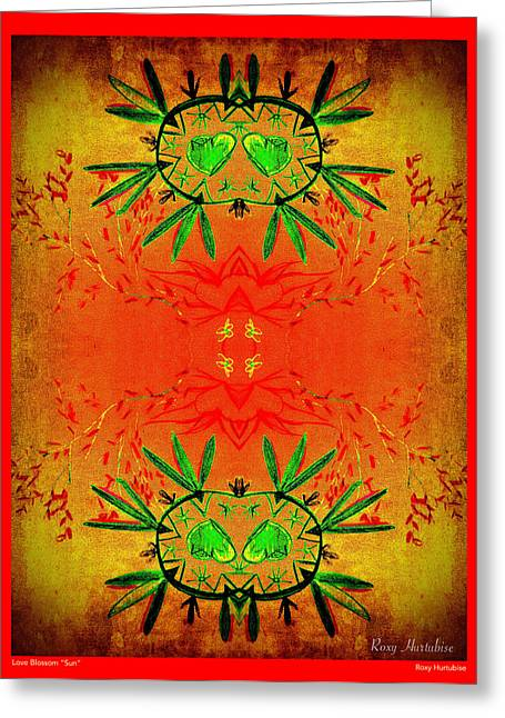 We Are All One Digital Greeting Cards - Love Blossom Sun Red Border Greeting Card by Roxy Hurtubise