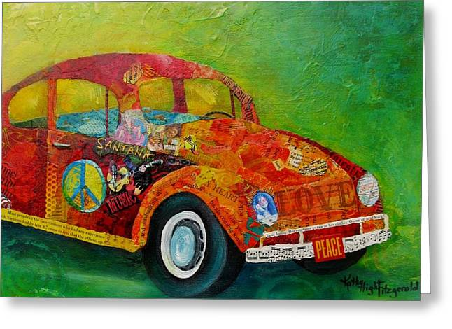 Vw Beetle Greeting Cards - Love Bug Greeting Card by Kathy Fitzgerald