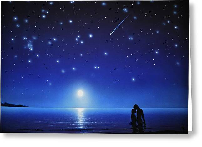 Glow Murals Greeting Cards - Love by moonlight Greeting Card by Thomas Kolendra