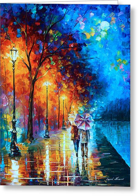 Love Poetry Greeting Cards - Love By The Lake Greeting Card by Leonid Afremov