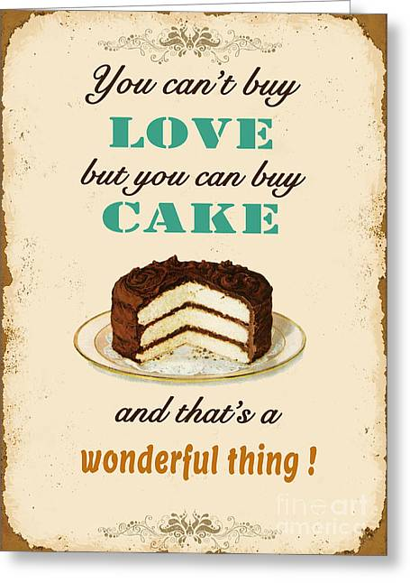 Sea Shell Digital Art Greeting Cards - Love Cake Typography Greeting Card by Jean Plout