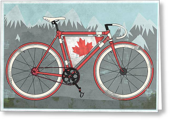 Messenger Greeting Cards - Love Canada Bike Greeting Card by Andy Scullion