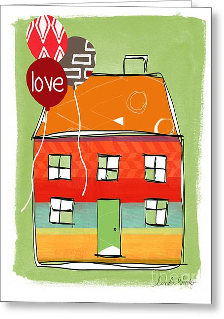Striped Mixed Media Greeting Cards - Love Card Greeting Card by Linda Woods