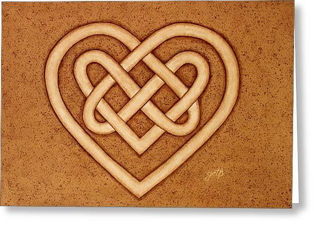 Celtic Paintings Greeting Cards - Love Celtic Knot original coffee painting Greeting Card by Georgeta Blanaru