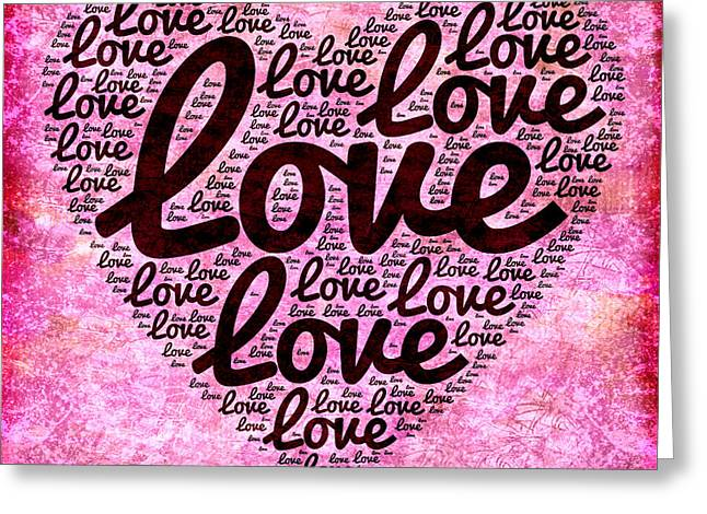 Word Cloud Greeting Cards - Love cloud Greeting Card by Delphimages Photo Creations