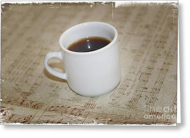 Kaffe Greeting Cards - Love Coffee and Music Greeting Card by Nina Prommer