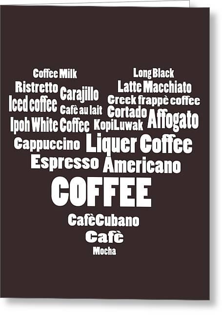 Coffee Drinking Digital Art Greeting Cards - Love Coffee Greeting Card by Marina Burrascano