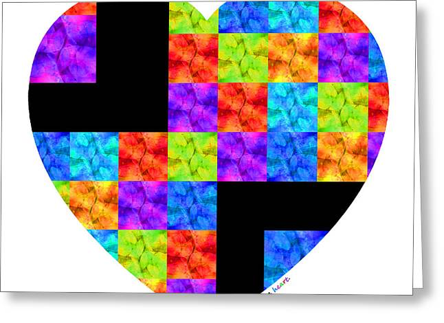 Colorful Quilts Greeting Cards - Love Colors The Heart - Art By Sharon Cummings Greeting Card by Sharon Cummings