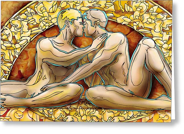 Homo Eroticism Greeting Cards - Love Crowning Greeting Card by Quang Mai