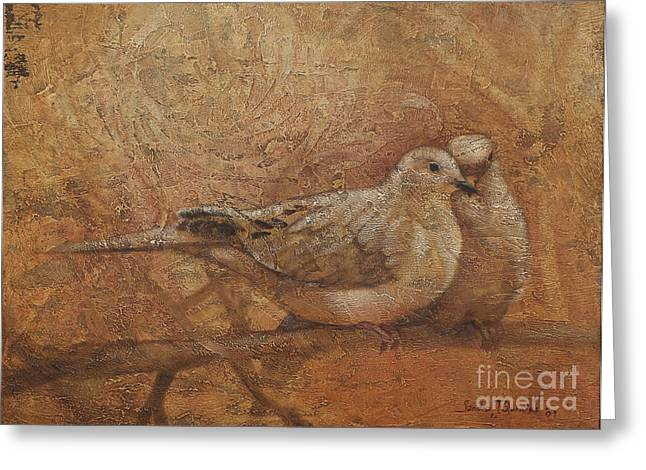Golden Brown Greeting Cards - Love Doves Greeting Card by Sandra Quintus