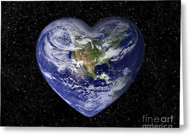 Planet Earth Greeting Cards - Love earth Greeting Card by Delphimages Photo Creations