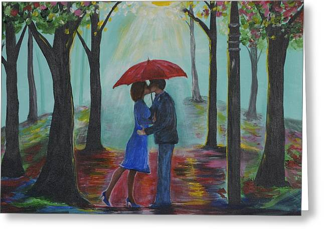 Couple In Arms Greeting Cards - Love Everlasting Greeting Card by Leslie Allen