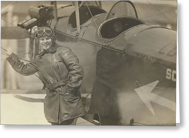 Love Field Woman Aviator Greeting Card by Paul Ashby