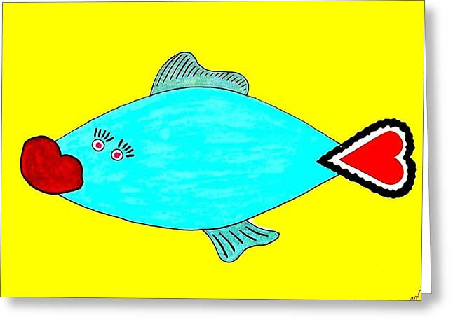 Best Sellers -  - Phantasie Greeting Cards - Love-Fish Greeting Card by Rodemondo Rocca