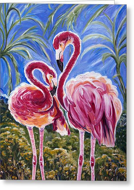 Fairy Hearts Pink Flower Greeting Cards - Love Flamingos  Greeting Card by Yelena Rubin