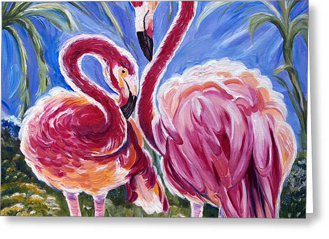 Love Flamingos  Greeting Card by Yelena Rubin