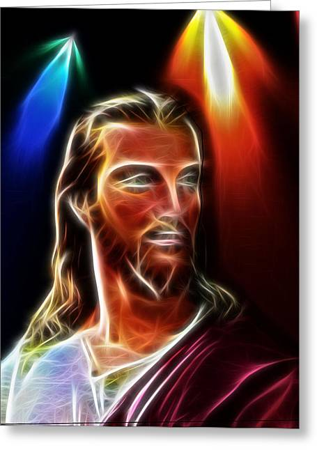 Jesus Crucifixion Framed Prints Greeting Cards - Love For All Races Greeting Card by Karen Showell