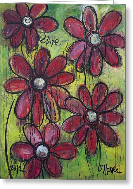 Love For Five Daisies Greeting Card by Laurie Maves ART