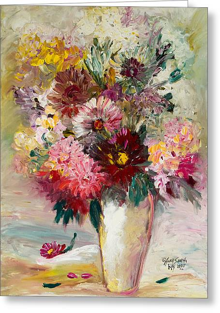 Vase Of Flowers Greeting Cards - Love For Red Greeting Card by Anna Sandhu Ray