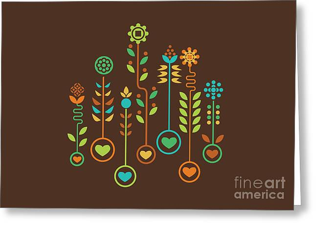 Shape Digital Art Greeting Cards - Love Garden Greeting Card by Budi Satria Kwan