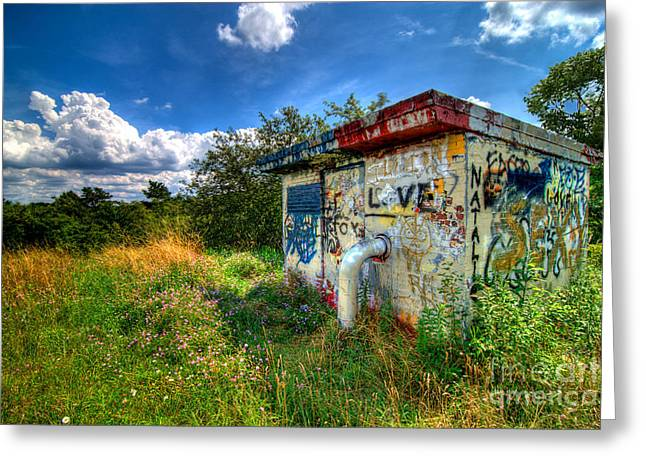 Hut Greeting Cards - Love Graffiti Covered Building in Field Greeting Card by Amy Cicconi