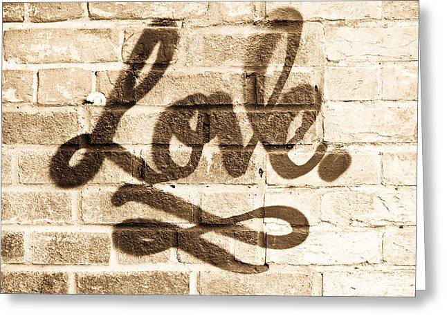 Words Background Greeting Cards - Love graffiti Greeting Card by Tom Gowanlock